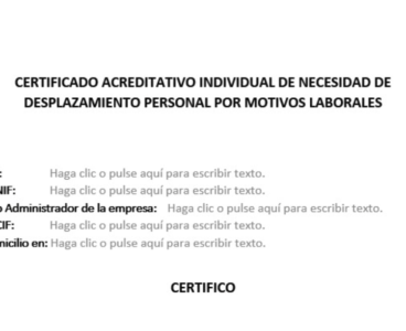 COVID-19: Modelo de certificado para justar el desplazamiento de trabajadores